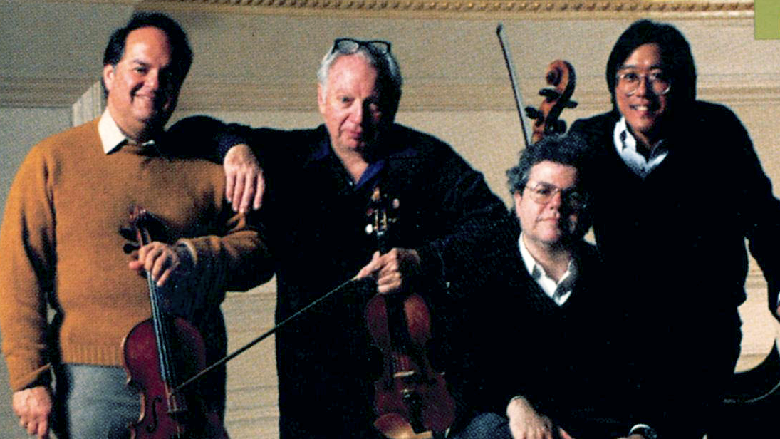 Isaac Stern, Jaime Laredo, Yo-Yo Ma, and Emanuel Ax rehearse and play Brahms's Piano Quartets No. 1 and 2