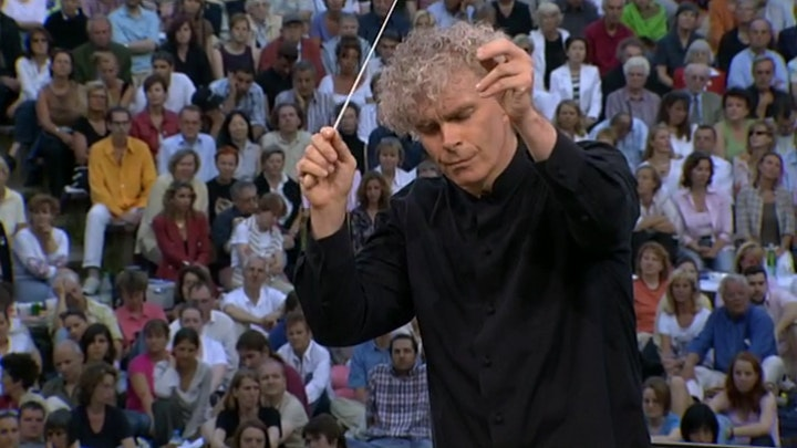 Sir Simon Rattle and the Berliner Philharmoniker perform Berlioz, Debussy, Dukas, Poulenc, Saint-Saëns, Ravel, Satie, and Lincke — with the Labèque sisters