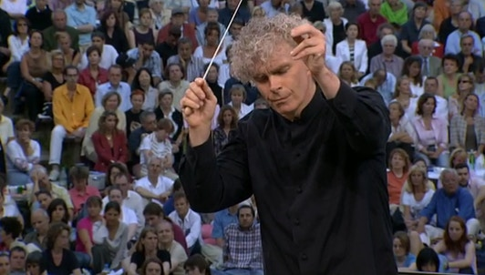 Sir Simon Rattle conducts works from the French repertoire — With the Labèque sisters